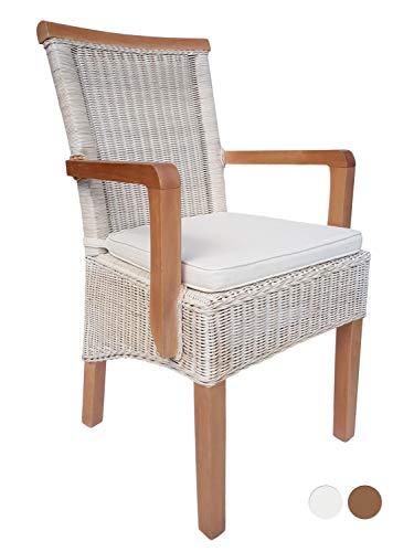 Esszimmer-Stuhl mit Armlehnen Rattanstuhl weiß Perth mit/ohne Sitzkissen Leinen weiß Farbe mit Sitzkissen