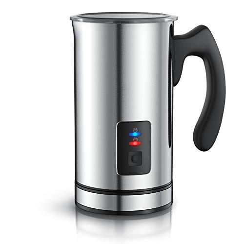 Arendo Milchaufschäumer Edelstahl automatisch Milk Frother - rostfreies Edelstahl-Doppelwanddesign - 2 Tasten für Warm- und Kaltaufschäumen