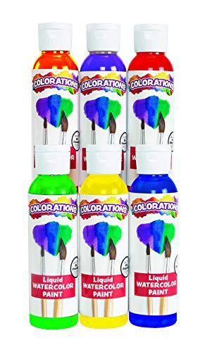 Colorations - LWPACK Liquid Watercolor Paint, 4 fl oz, Set of 6, Non-Toxic, Painting, Kids, Craft, Hobby, Fun, Water Color, Posters, Cool Effects, Versatile, Gift