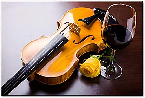 FNECCC Arte de Pared Moderno Lienzo violín Rosa y Vino Tinto Lienzo Arte Pintura Imagen Cocina hogar Sala de Estar decoración Cartel Pintura sin Marco 40x60cm