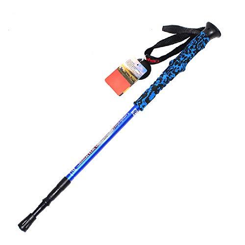 YHDQ Trekkingstock, Outdoor, super leicht, Bunte Griffe, DREI Abschnitte, ultraleichte Skistöcke, Krücken, Länge: 66–135 cm