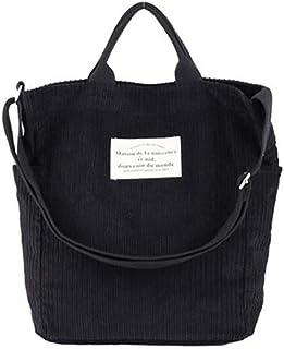 Ulisty Damen Cord Schultertasche Lässige Handtasche Mode Schultasche Umhängetasche schwarz