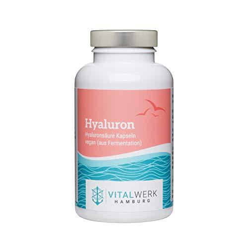 VITALWERK HAMBURG® Hyaluron – 90 vegane Kapseln (für 3 Monate) – 400 mg reines Natrium Hyaluronat – 100% VEGAN, streng kontrolliert und aus DEUTSCHLAND.