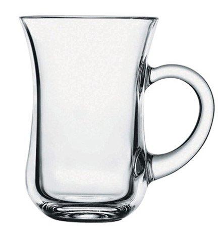 Pasabahce 55411 Keyif Türkische Teegläser mit Henkel, 145ml, Glas, transparent, 6 Stück
