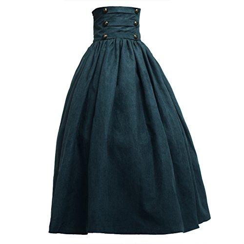 BLESSUME Gothic Lolita Steampunk Pantalone da Passeggio ad Altezze Marrone (L, Verde)