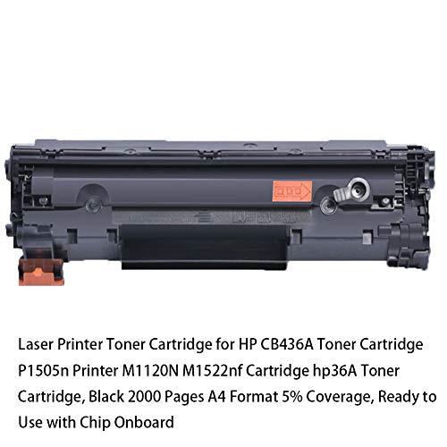 Laserdrucker Tonerkartusche für HP CB436A Tonerkartusche P1505n Drucker M1120N M1522nf Kartusche HP36A Tonerkartusche, schwarz 2000 Seiten A4 Format 5% Abdeckung, gebrauchsfertig mit Chip Onboard