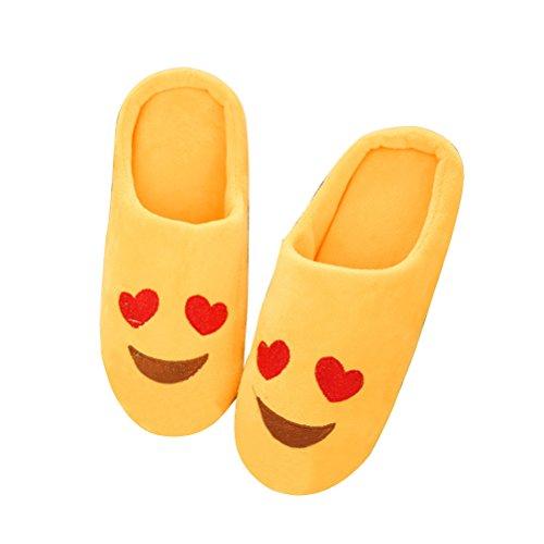 Pantufas de inverno para casa de inverno TINKSKY com olhos de coração para homens e mulheres – Tamanho, Amarelo, 36-37