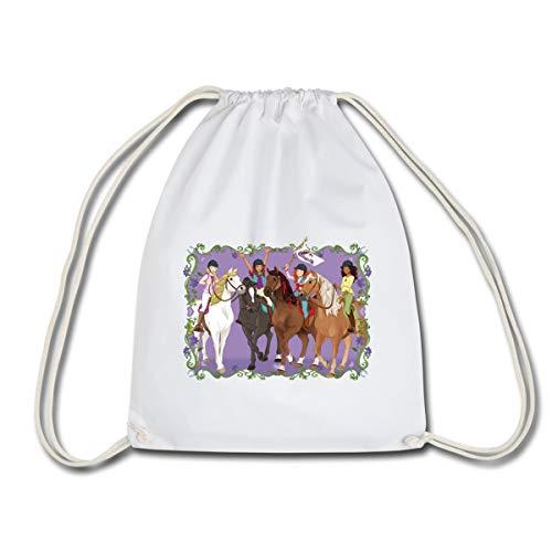 Horse Club Filles Sur Cheval Sac à dos cordon, blanc