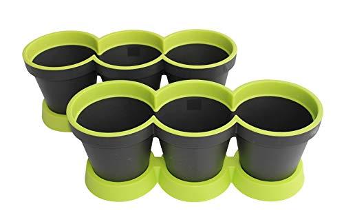 Set Van 2 3 in 1 Kruidpot Bloempot Plastic Voor Vensterbank/Keuken 40 cm Tweekleurig Muntgroen