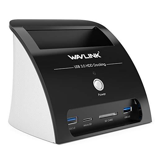 WAVLINK USB 3.0 zu SATA-Festplatten-Dockingstation mit 2 USB 3.0-Anschlüssen und TF & SD Kartenleser für 2,5 oder 3,5 Zoll SATA HDD SSD, Unterstützung UASP(Enthält Keine Festplatte)