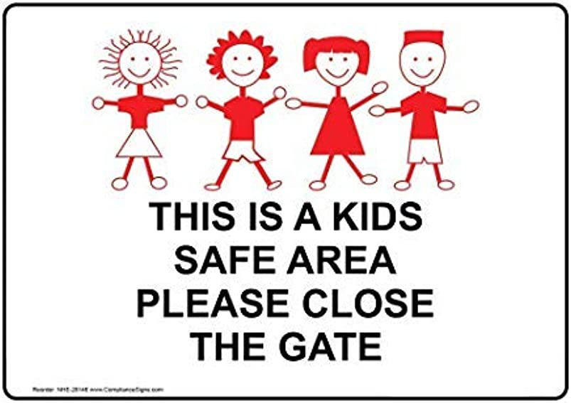liuKen This is A Kids Safe Area Please Close The Gate Sign,Funny Wanring Signs,Gate Sign,Hence Yard Sign,8