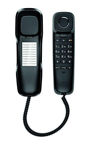 Gigaset DA210 - Schnurgebundenes Telefon - klassisches Schnurtelefon mit Stummschaltung und gutem Klang - platzsparendes Festnetztelefon, schwarz