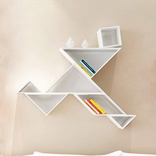 Drijvende planken, wandplank, houder, opslagplank, Woody Lattice, boekenplank, veranderbare vorm, hoofdversiering, multifunctioneel, modern, eenvoudige 4 kleuren (kleur: blauw) wit