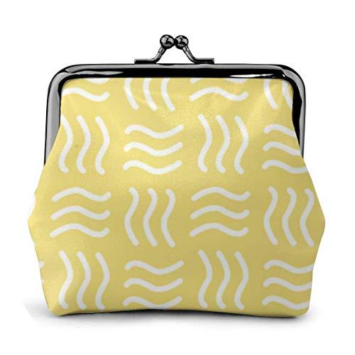 Lederen portemonnee gele blender gesp muntportemonnee vintage tas Kiss-Lock Change portemonnee