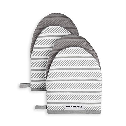KitchenAid Albany Mini Cotton Oven Mitts with Silicone Grip, 5.5'x8', Grey