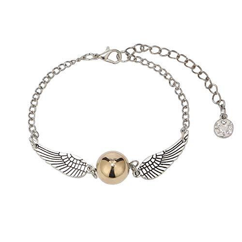 LEGITTA Goldener Schnatz Armband Damen Schmuck mit Flügel Antike Silber Kette mit Anhänger Geschenk für Frauen Kinder Fans L083