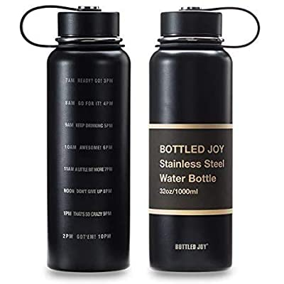 JOYSHAKER 32oz Stainless Steel Water Bottle with Motivational Time Marked 1L Wide Mouth Travel Mug Double-wall Vacuum Insulated Water Bottle BPA-free Thermo Mug for Outdoor Activities Daily Drinking…