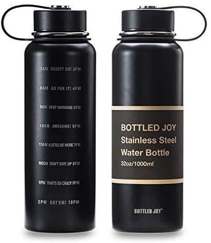 JOYSHAKER 32oz Stainless Steel Water Bottle with Motivational Time...