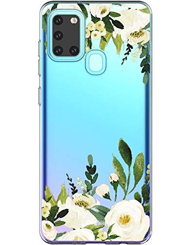 Funda Jemous compatible con Samsung Galaxy A21s funda de silicona transparente Case Cover Mármol flores patrón funda funda protectora 360 grados original fina exterior funda para Galaxy A21s móvil