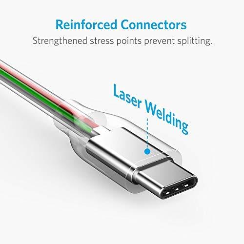 Anker [2 Pack Powerline+ 1,8m USB-C auf USB 3.0 A Kabel, Nylon Ladekabel für USB Typ-C Geräte, Kompatibel mit Galaxy S8, S8+, S9,S10, MacBook und viele mehr (Grau)