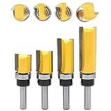 DingGreat 4 Pcs Plantilla de patrón de ajuste Juego de brocas para enrutador 8 mm Vástago al ras Puntas de corte Carpintería Fresadora