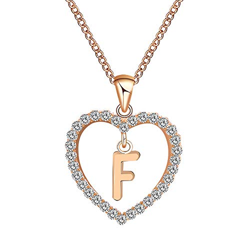 Danbai Love Necklace Hollow 26 Letter Chain Pure Fashion Choker Diamond Exquisite Peach Heart Necklaces