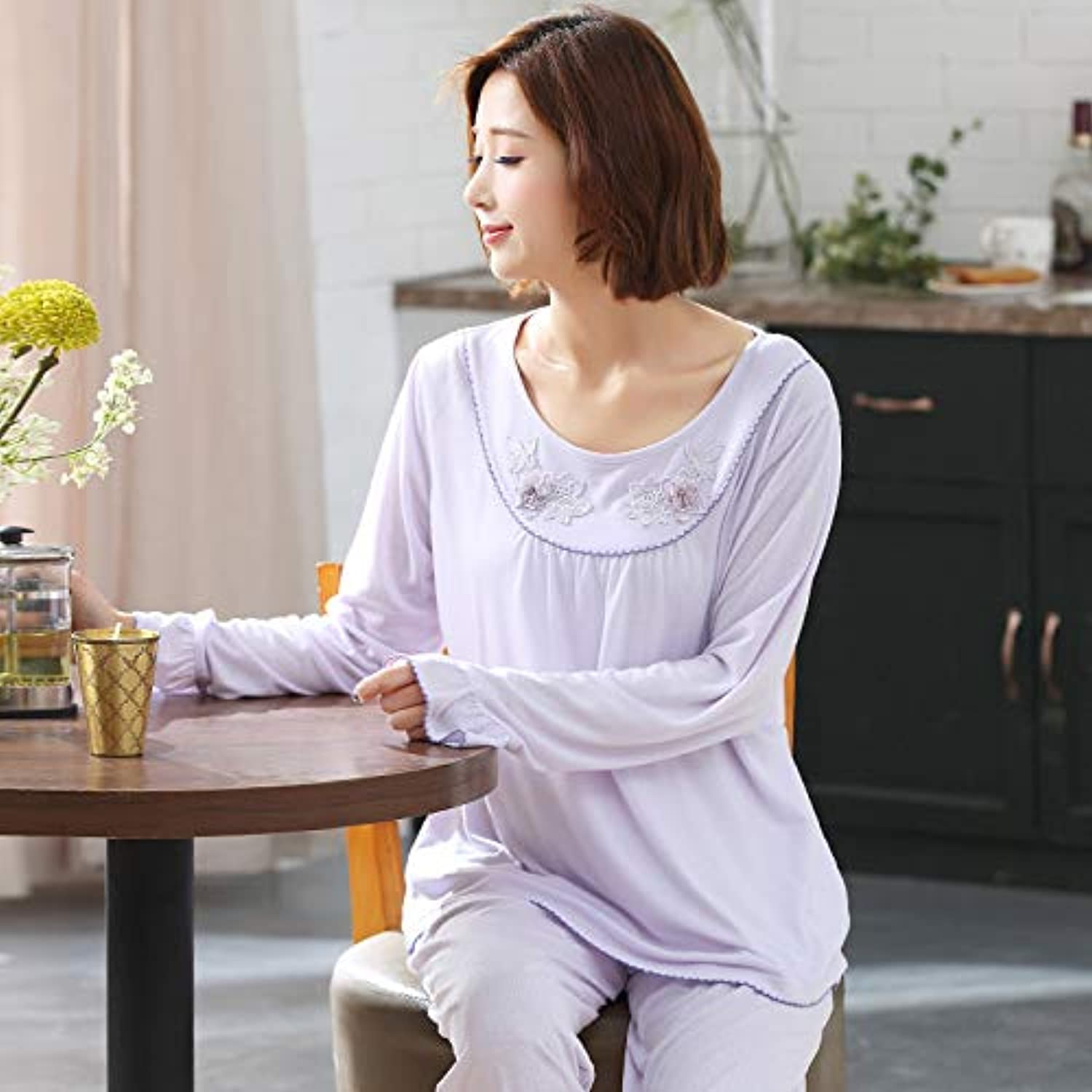 IANXI Home Spring and Autumn Pajamas Women Summer Modal Thin Section LongSleeved Cotton Large Size Loose MiddleAged Home Service Suit (Size   XXXL)