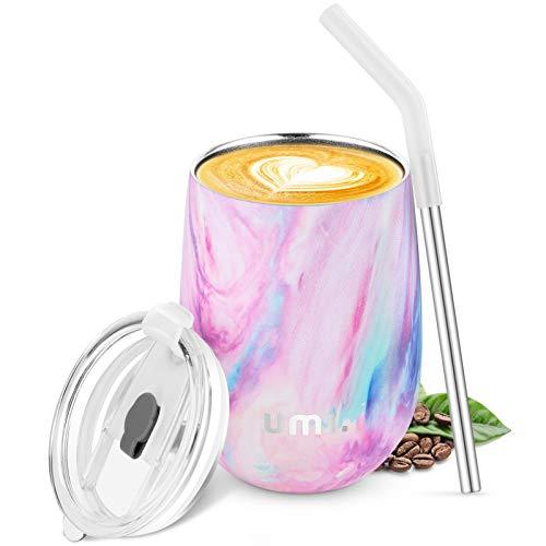 UMI. by Amazon -Bicchiere da Vino con Tappo 360ml, Tazza Termica Colazione caffè, Double-Insulated Tazze in Acciaio Inox, Porta Borraccia Termica Acqua Isolata, Riutilizzabile Senza BPA, Iris