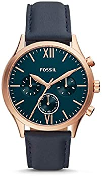 Fossil Fenmore Midsize Multifunction Navy Leather Watch