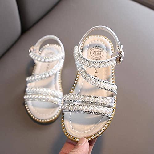 N\C Sandalias de niña de verano de la moda de los niños del bebé de las niñas Bling Rhinestone princesa sandalias individuales para los zapatos de niña grande