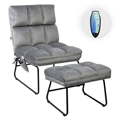 COSTWAY Recilner Chair with Message Function, Leisure Couch Velvet Sofa...