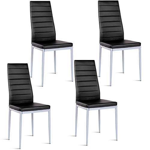 Giantex Set of 4 PU Leather Dining Side Chairs with Padded Seat Foot Cap Protection Stable Frame Heavy Duty Elegant Ergonomically High Back Design for Kitchen Dining Room Home Furniture, Black