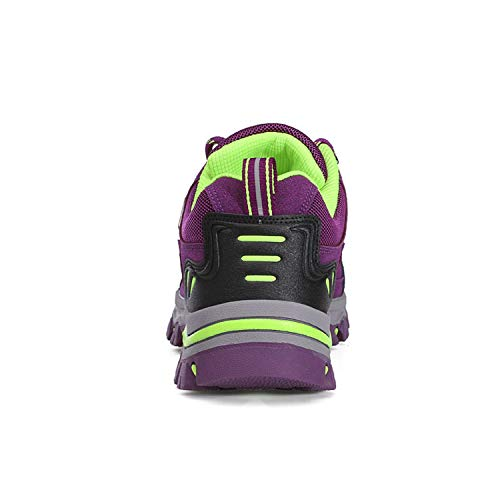 Wowei - Botas de senderismo, impermeables, para exteriores, deportivas, antideslizantes, cómodas, ligeras, de montaña, para trekking, para hombre y mujer, color Morado, talla 36 EU