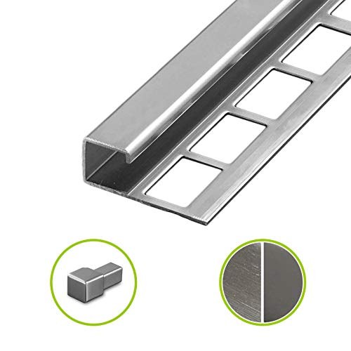 HORI® Fliesenprofil I Quadroprofil aus Edelstahl Stück Länge á 2,50 m I Höhe: 10 mm I glänzend