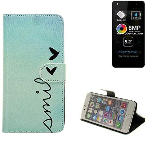 K-S-Trade® Schutzhülle Für Allview A9 Lite Hülle Wallet Case Flip Cover Tasche Bookstyle Etui Handyhülle ''Smile'' Türkis Standfunktion Kameraschutz (1Stk)