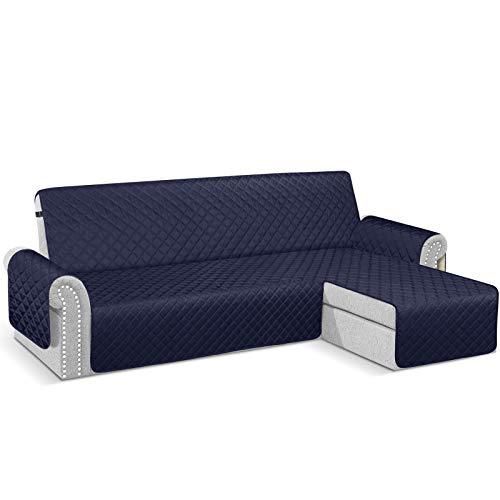 TAOCOCO Funda de sofá con chaise longue impermeable con reposabrazos derecho y protector Slipcovers azul oscuro de 2 plazas + 3 plazas (vista de frente)