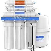 HiKiNS Sistema de filtración de Agua de ósmosis inversa RO-150G Sistema de 6 etapas para Beber en casa con Gran Flujo de Membrana de 150 GPD y Ahorro de Agua con la aprobación de la FDA