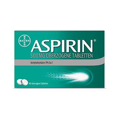 Aspirin 500mg überzogene Tabletten, besonders schnell und effektiv gegen Kopfschmerzen bei guter Verträglichkeit, 80Stück