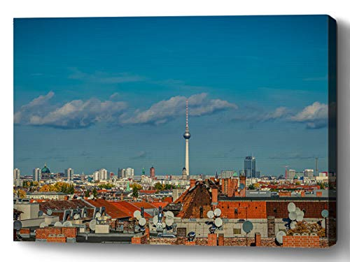 YUNLOY Canvas Wall Print Framed for Home Walls Decor Morden Decoration 20x14 Berlin City Skyline Roofs Satellite Antennas Foresight Houses Building Structures