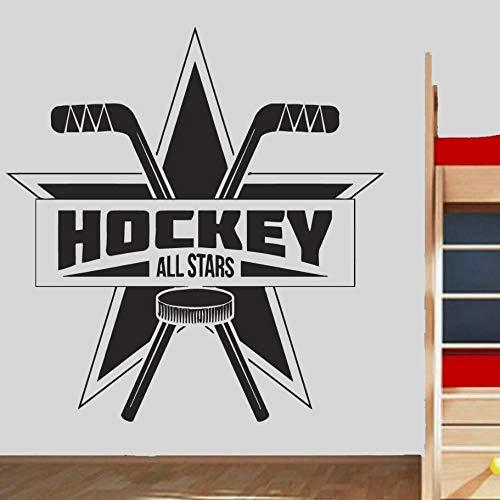 Tianpengyuanshuai Vinyl Wandaufkleber Kinderzimmer Hockey Logo Wandkunst Dekoration abnehmbare Wandmalerei 63X66cm