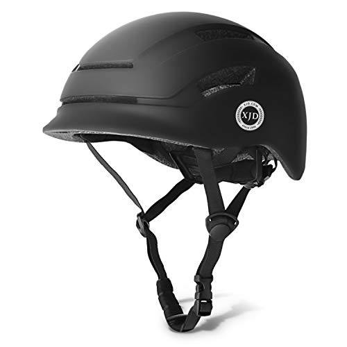 XJD Casco de Bicicleta para Adultos Protección de Bici Ciclismo USB Recargable Luz Urban Commuter Ligero Casco de Multideporte con Certificado CE Tamaño Ajustable para Hombres y Mujeres (Negro, L)