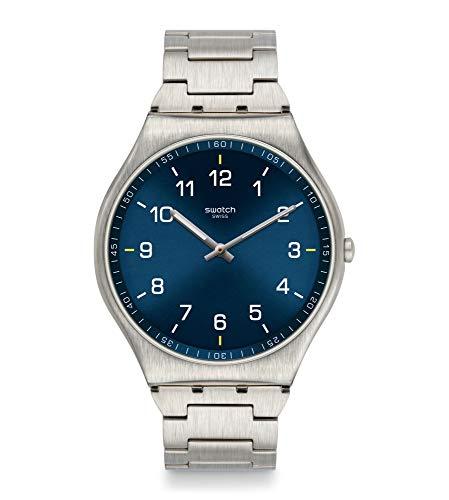 Swatch Unisex Analoger Quarz Uhr mit Edelstahl Armband SS07S106G