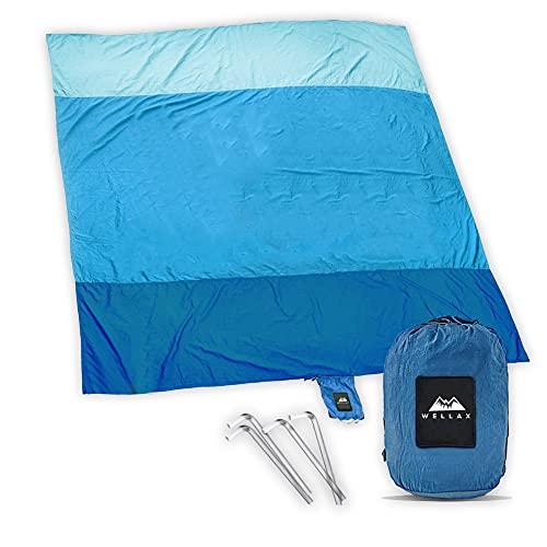 WELLAX Beach Blanket Waterproof Sandproof for 4 - 7 Adults, Oversized Lightweight Corner Pockets...