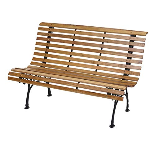 Mendler Gartenbank HWC-F97, Sitzbank Parkbank Holzbank, 2-Sitzer Gusseisen Holz 122cm 22kg ~ Hellbraun