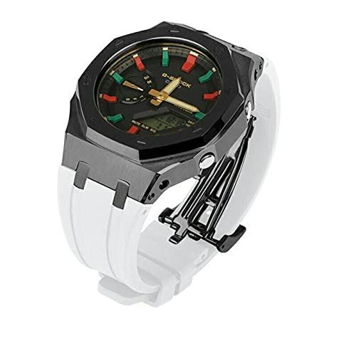 DLCYMY 3ª banda modificada GA2100 GA2110 Gen3 correa de reloj de goma Bisel de metal de acero inoxidable de tercera generación (Color de la correa: blanco negro, ancho de la correa: GA-2100 2110)