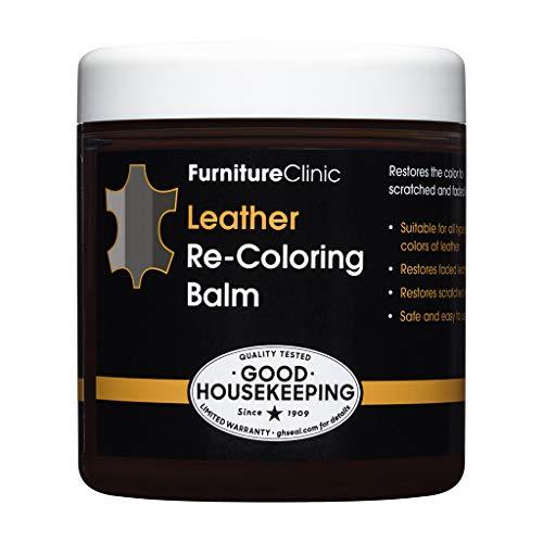 Furniture Clinic Leather Re-Coloring Balm   Non Toxic Leather Color Restorer for Furniture   16 Colors of Leather Repair Cream (Dark Grey), 8.5 fl oz