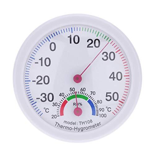 Hukz Hauptdekoration,Indoor Outdoor Thermometer Temperaturmesser Hygrometer Luftfeuchtigkeit Uhrförmig(Weiß) (Weiß)