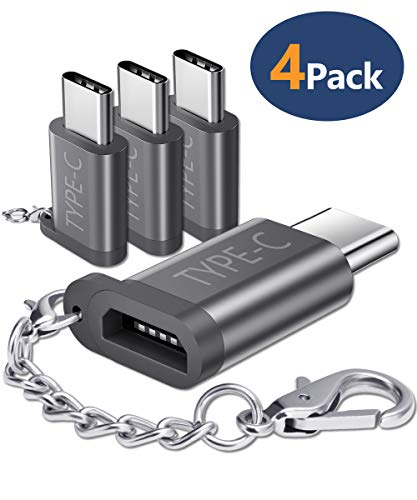 JSAUX Micro USB (Female) to USB C Adapter 4-Pack, Aluminum USB Type C Adapter with Keychain Fast Charging Compatible with Samsung Galaxy S10 S9 S8 Plus Note 9 8, LG V30 G5 G6, Moto Z Z2, more (Grey)