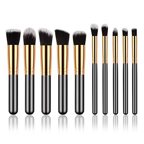 Lot de 10 pinceaux de maquillage pour fond de teint noir doré