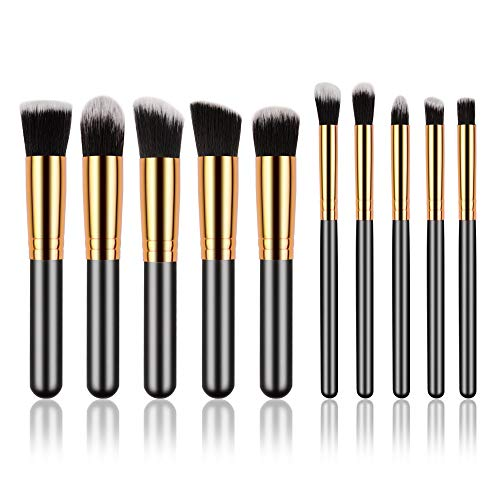 Make Up Pinsel Set, 10 Stück Golden Black Foundation Augenbrauen Eyeliner Blush Concealer Pinsel Kit (schwarz)